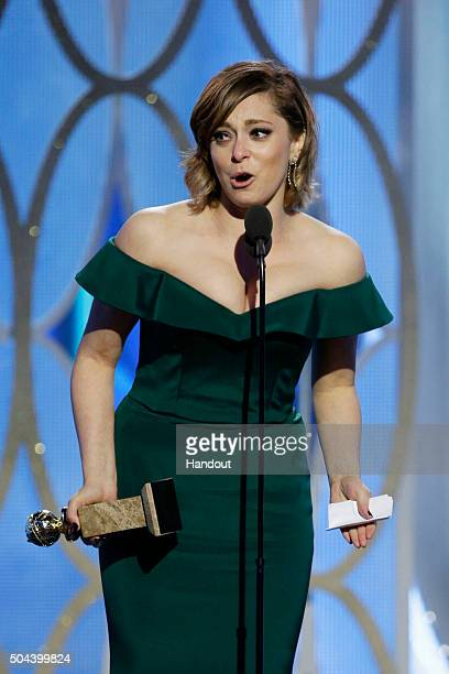 In this handout photo provided by NBCUniversal Rachel Bloom accepts the award for Best Actress TV Series Comedy or Musical for 'Crazy ExGirlfriend'...