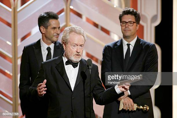 In this handout photo provided by NBCUniversal Ridley Scott accepts the award for Best Motion Picture Comedy for 'The Martian' during the 73rd Annual...