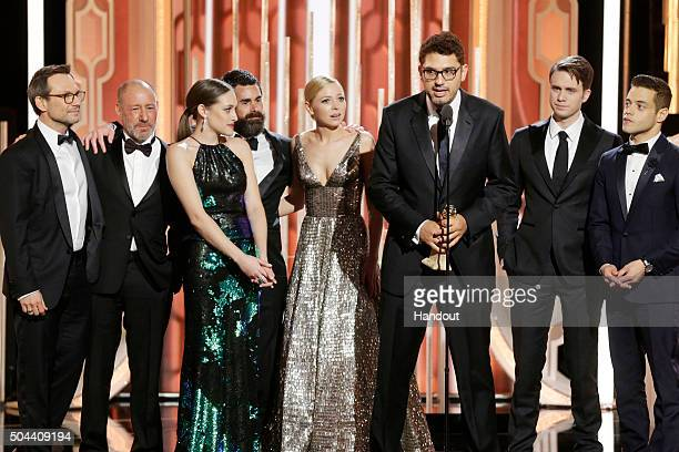 In this handout photo provided by NBCUniversal Sam Esmail accepts the award for Best TV Series Drama for 'Mr Robot' during the 73rd Annual Golden...