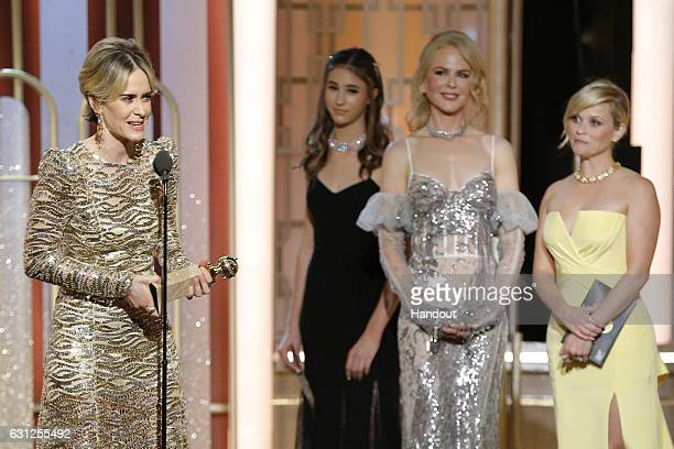 In this handout photo provided by NBCUniversal Sarah Paulson accepts her award for Best Actress in a Limited Series or Motion Picture Made for TV for...