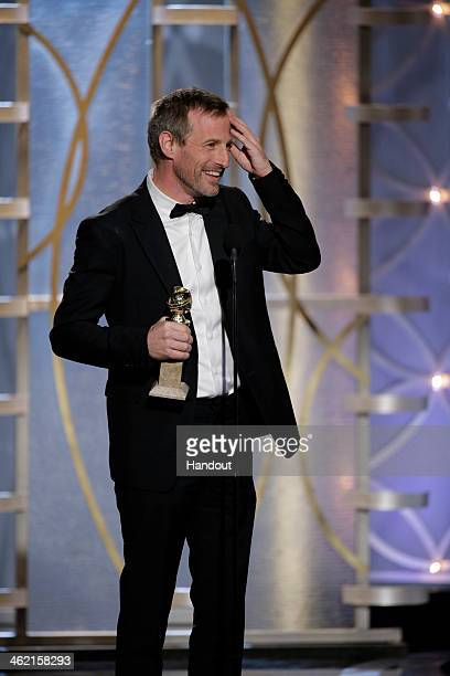 In this handout photo provided by NBCUniversal Spike Jonze accepts the award for Best Screenplay Motion Picture for 'Her' during the 71st Annual...