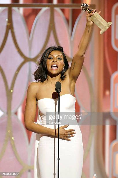 In this handout photo provided by NBCUniversal Taraji P Henson accepts the award for Best Actress TV Series Drama for 'Empire' onstage during the...