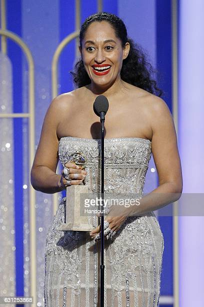 In this handout photo provided by NBCUniversal Tracee Ellis Ross accepts the award for Best Actress in a Television Series Musical or Comedy for her...