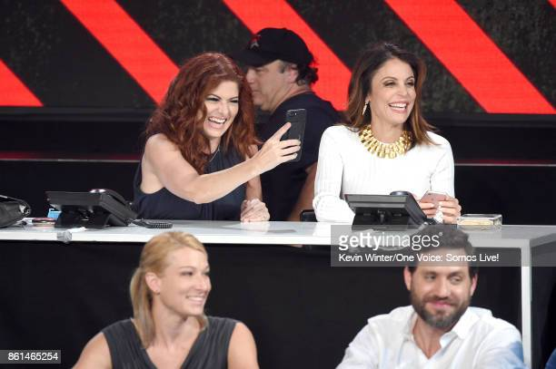 In this handout photo provided by One Voice Somos Live actor Debra Messing and tv personality Bethenny Frankel participate in the phone bank onstage...