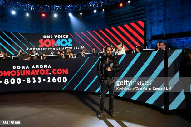 In this handout photo provided by One Voice Somos Live Actor Jared Leto speaks onstage during 'One Voice Somos Live A Concert For Disaster Relief' at...