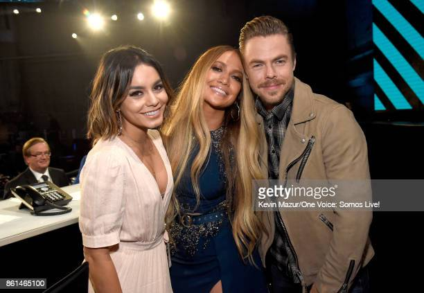 In this handout photo provided by One Voice Somos Live actor Vanessa Hudgens singer Jennifer Lopez and tv personality Derek Hough pose backstage...