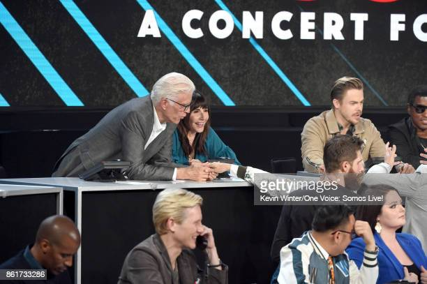 In this handout photo provided by One Voice Somos Live actors Ted Danson and Mary Steenburgen participate in the phone bank onstage during 'One Voice...