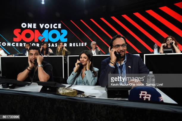 In this handout photo provided by One Voice Somos Live Actors Wilmer Valderrama Victoria Justice and Jimmy Smits participate in the phone bank...