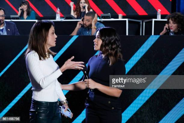 In this handout photo provided by One Voice Somos Live Bethenny Frankel and Gina Rodriguez participate in the phone bank during 'One Voice Somos Live...