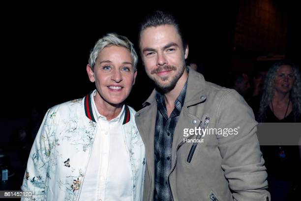 In this handout photo provided by One Voice Somos Live Ellen DeGeneres and Derek Hough participate in the phone bank during 'One Voice Somos Live A...
