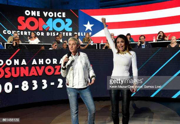 In this handout photo provided by One Voice Somos Live Ellen DeGeneres and tv personality Bethenny Frankel speak onstage during 'One Voice Somos Live...