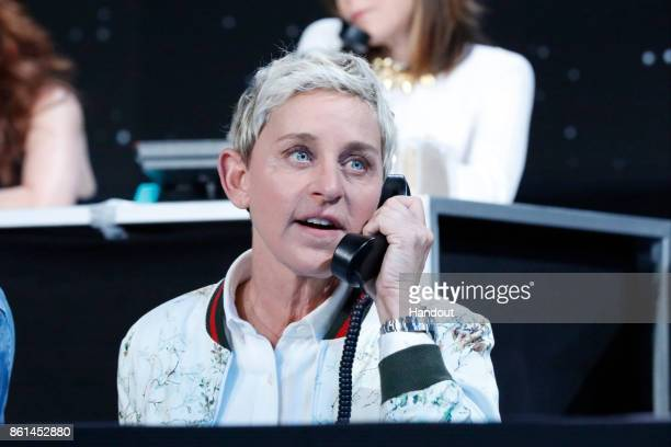 In this handout photo provided by One Voice Somos Live Ellen DeGeneres participates in the phone bank during 'One Voice Somos Live A Concert For...