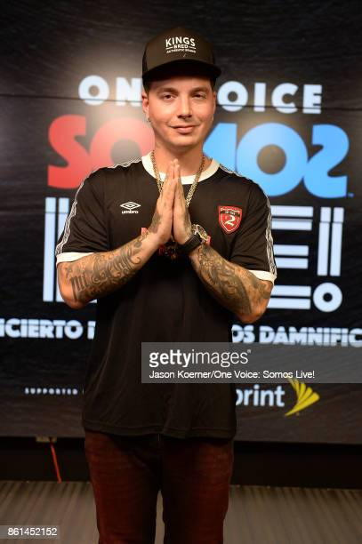 In this handout photo provided by One Voice Somos Live J Balvin poses in the pressroom at One Voice Somos Live A Concert For Disaster Relief at...
