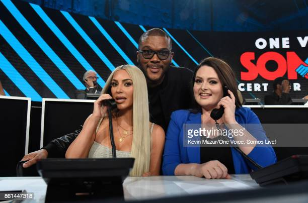 In this handout photo provided by One Voice Somos Live Kim Kardashian and actors Tyler Perry and Lauren Ash participate in the phone bank onstage...
