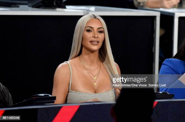 In this handout photo provided by One Voice Somos Live Kim Kardashian participates in the phone bank onstage during 'One Voice Somos Live A Concert...