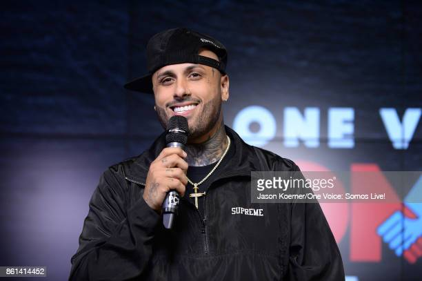 In this handout photo provided by One Voice Somos Live Nicky Jam poses in the pressroom at One Voice Somos Live A Concert For Disaster Relief at...