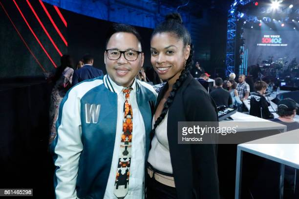 In this handout photo provided by One Voice Somos Live Nico Santos and Susan Kelechi Watson participate in the phone bank during 'One Voice Somos...