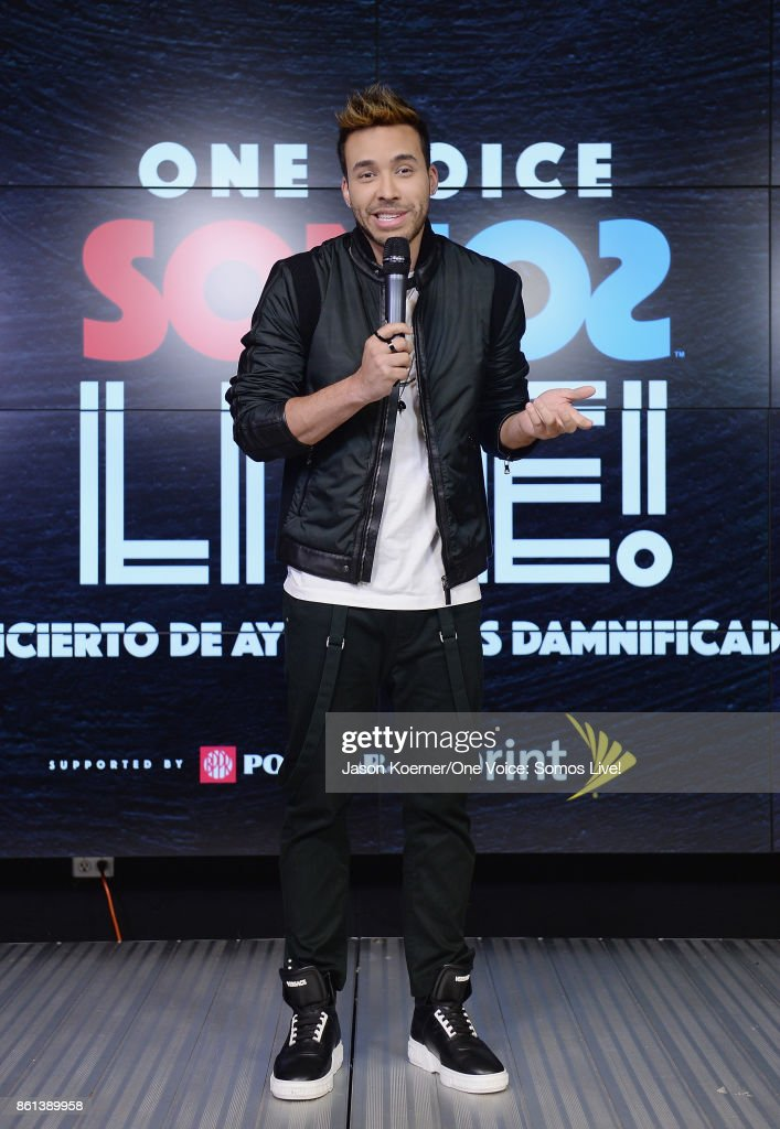 In this handout photo provided by One Voice: Somos Live!, Prince Royce poses in the pressroom at One Voice: Somos Live! A Concert For Disaster Relief at Marlins Park on October 14, 2017 in Miami, Florida.