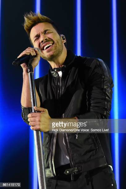 In this handout photo provided by One Voice Somos Live Prince Royce performs onstage at One Voice Somos Live A Concert For Disaster Relief at Marlins...