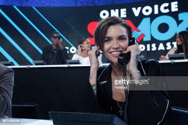 In this handout photo provided by One Voice Somos Live Ruby Rose participates in the phone bank during 'One Voice Somos Live A Concert For Disaster...