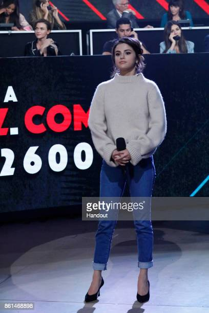 In this handout photo provided by One Voice Somos Live Selena Gomez participates in the phone bank during 'One Voice Somos Live A Concert For...