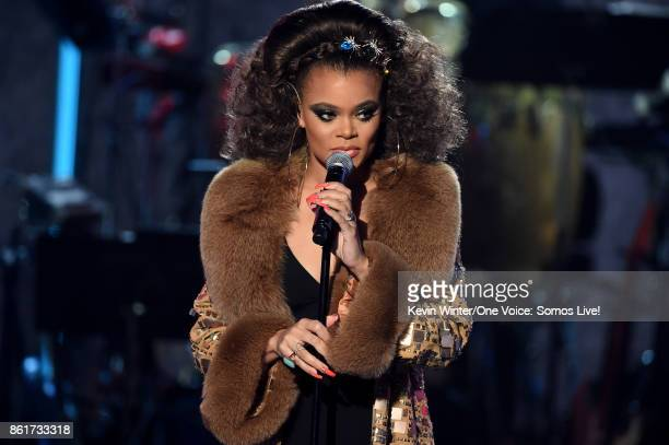 In this handout photo provided by One Voice Somos Live singer Andra Day performs onstage during 'One Voice Somos Live A Concert For Disaster Relief'...