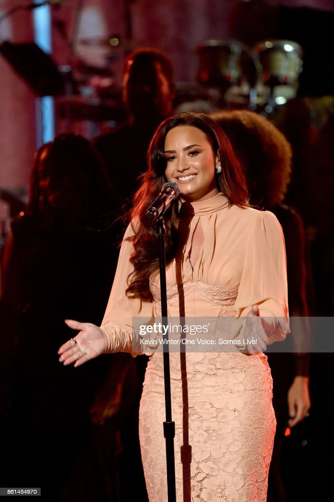 In this handout photo provided by One Voice: Somos Live!, singer Demi Lovato performs onstage during 'One Voice: Somos Live! A Concert For Disaster Relief' at the Universal Studios Lot on October 14, 2017 in Los Angeles, California.