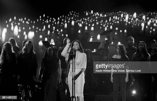 In this handout photo provided by One Voice Somos Live singer Demi Lovato performs onstage during 'One Voice Somos Live A Concert For Disaster...