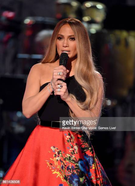 In this handout photo provided by One Voice Somos Live singer Jennifer Lopez speaks onstage during 'One Voice Somos Live A Concert For Disaster...