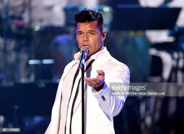 In this handout photo provided by One Voice Somos Live singer Ricky Martin performs onstage during 'One Voice Somos Live A Concert For Disaster...