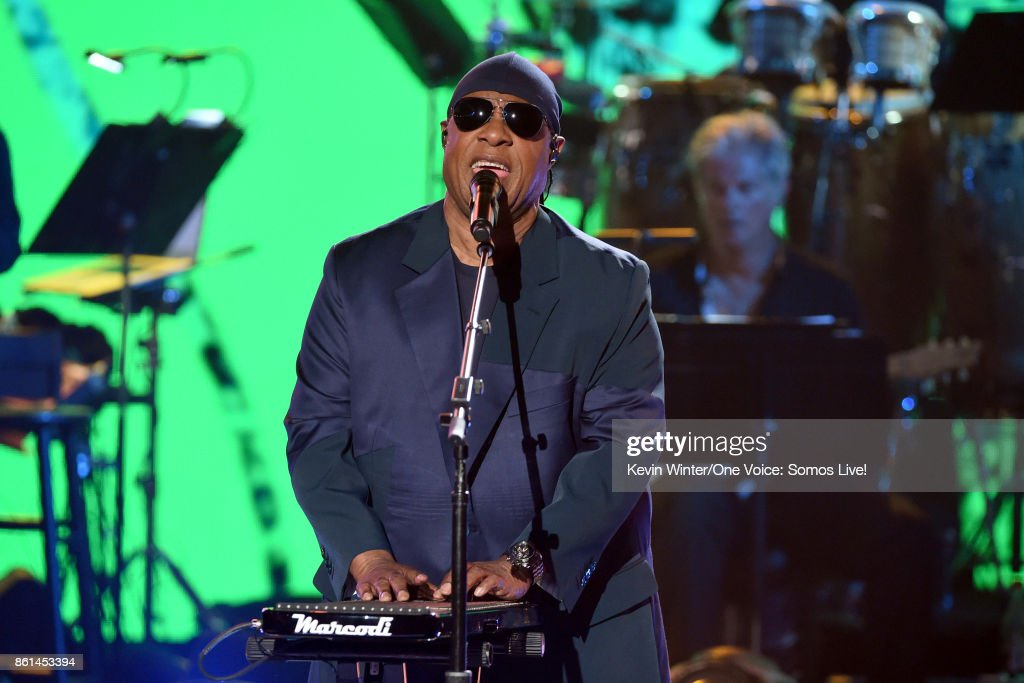 In this handout photo provided by One Voice: Somos Live!, Stevie Wonder performs onstage during 'One Voice: Somos Live! A Concert For Disaster Relief' at the Universal Studios Lot on October 14, 2017 in Los Angeles, California.