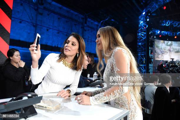 In this handout photo provided by One Voice Somos Live TV peronality Bethenny Frankel and Jennifer Lopez speak onstage during 'One Voice Somos Live A...
