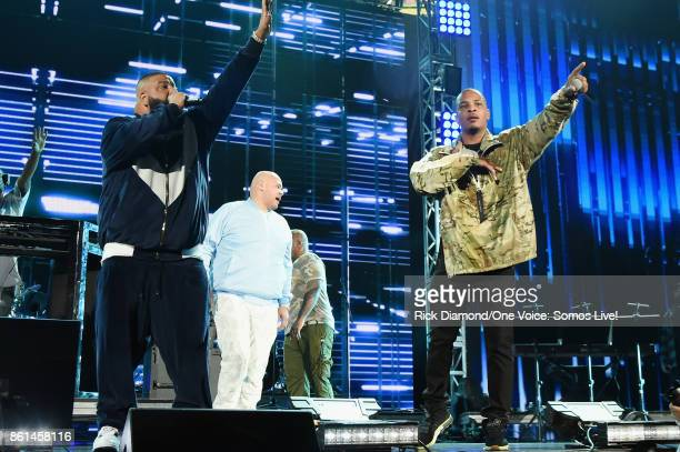 In this handout photo provided by One Voice Somos LiveDJ Khaled and Fat Joe perform onstage at One Voice Somos Live A Concert For Disaster Relief at...