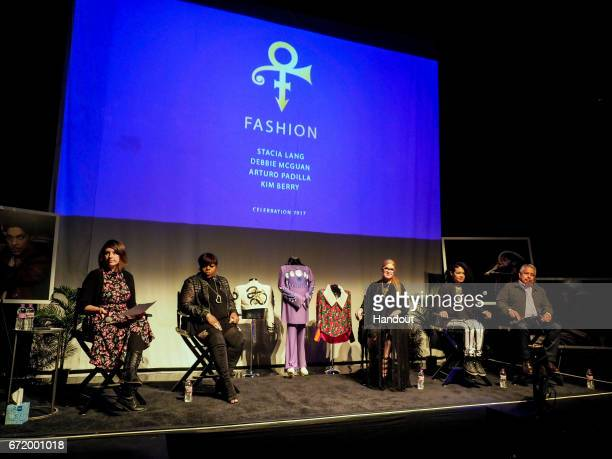 In this handout photo provided by Paisley Park Studios Moderator Andrea Swensson Kim Berry Stacia Lang Debbie McGuan Arturo Padilla are seen on stage...