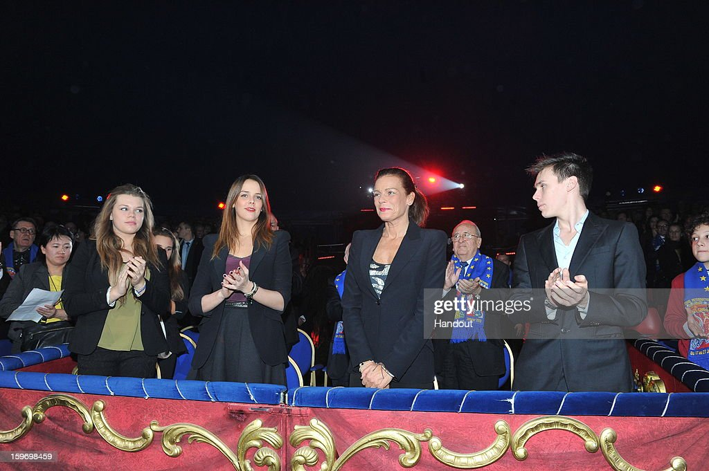 In this handout photo provided by Palais Princier, (L-R) Camille Gotlieb, Pauline Ducruet, Princess Stephanie of Monaco and Louis Ducruet attends the Monte-Carlo 37th International Circus Festival on January 18, 2013 in Monte-Carlo, Monaco.