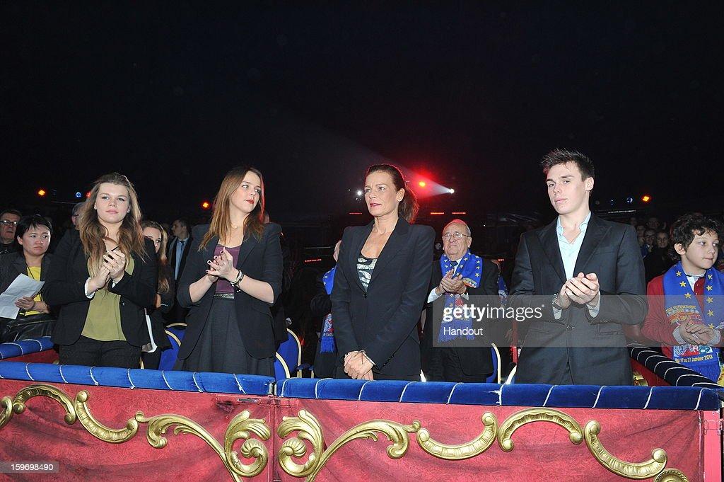 In this handout photo provided by Palais Princier, (L-R) Camille Gotlieb, Pauline Ducruet, Princess Stephanie of Monaco and Louis Ducruet attends the Monte-Carlo 37th International Circus Festival on January 18, 2013 in Monte-Carlo, Monaco.