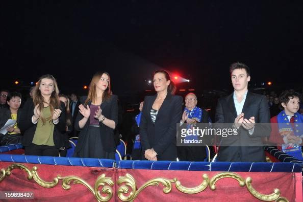 In this handout photo provided by Palais Princier Camille Gotlieb Pauline Ducruet Princess Stephanie of Monaco and Louis Ducruet attends the...