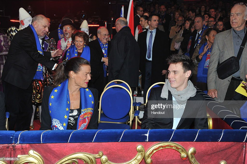 In this handout photo provided by Palais Princier, (L-R) Louis Ducruet and Princess Stephanie of Monaco attends the Monte-Carlo 37th International Circus Festival on January 18, 2013 in Monte-Carlo, Monaco.