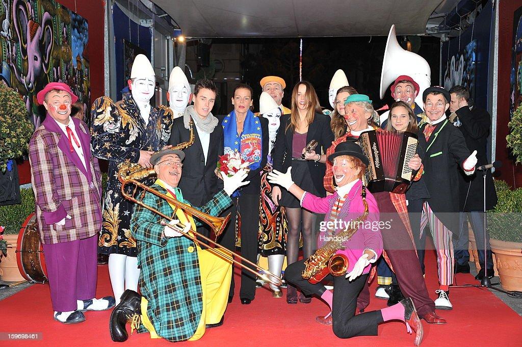 In this handout photo provided by Palais Princier, (L-R) Louis Ducruet , Princess Stephanie of Monaco, Pauline Ducruet and Camille Gotlieb attends the Monte-Carlo 37th International Circus Festival on January 18, 2013 in Monte-Carlo, Monaco.