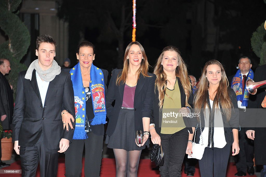 In this handout photo provided by Palais Princier, (L-R) Louis Ducruet, Princess Stephanie of Monaco, Pauline Ducruet and Camille Gotlieb attends the Monte-Carlo 37th International Circus Festival on January 18, 2013 in Monte-Carlo, Monaco.
