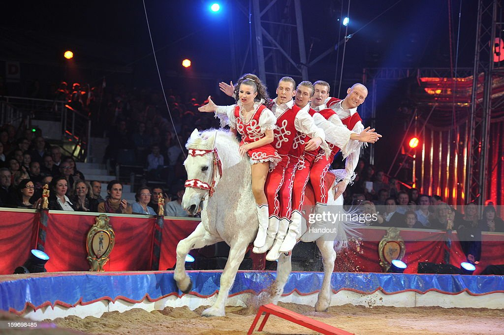 In this handout photo provided by Palais Princier, Performers act on stage during the Monte-Carlo 37th International Circus Festival on January 18, 2013 in Monte-Carlo, Monaco.