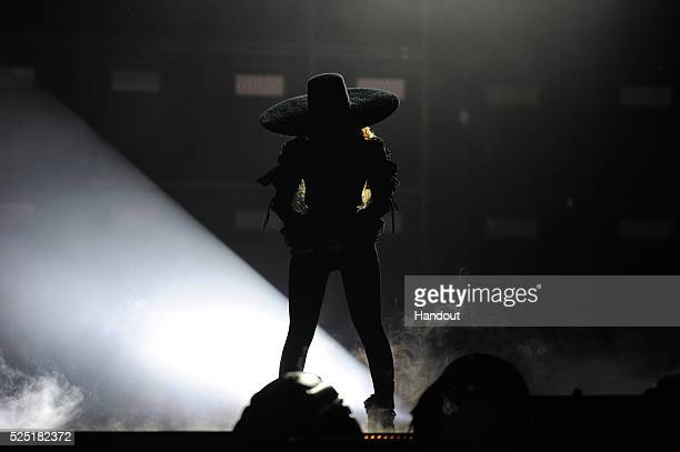 In this handout photo provided by Parkwood Entertainment Beyonce performs during the opening night of the Formation World Tour at Marlins Park on...