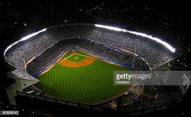In this handout photo provided by perspectiveAerials an aerial view of Yankees Stadium is seen during the game between the New York Yankees and the...
