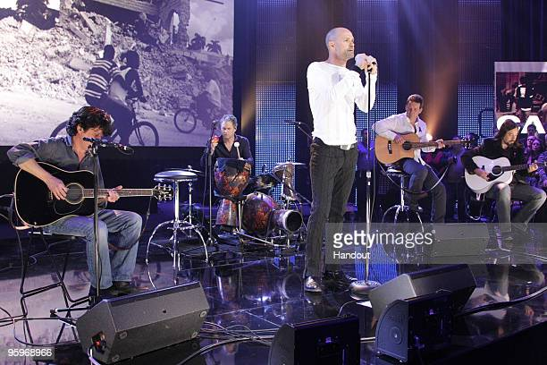 In this handout photo provided by Pimentel Photography Gordon Downie of The Tragically hip performs at the Canada For Haiti Benefit on January 22...