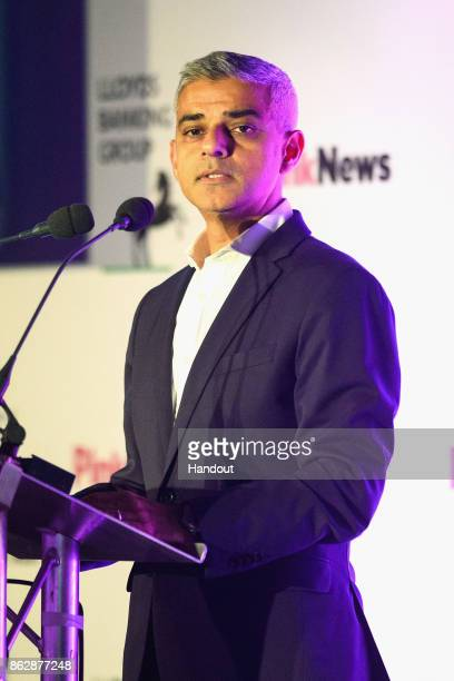 In this handout photo provided by Pink News Mayor of London Sadiq Khan speaks on stage during the Pink News Awards 2017 held at One Great George...