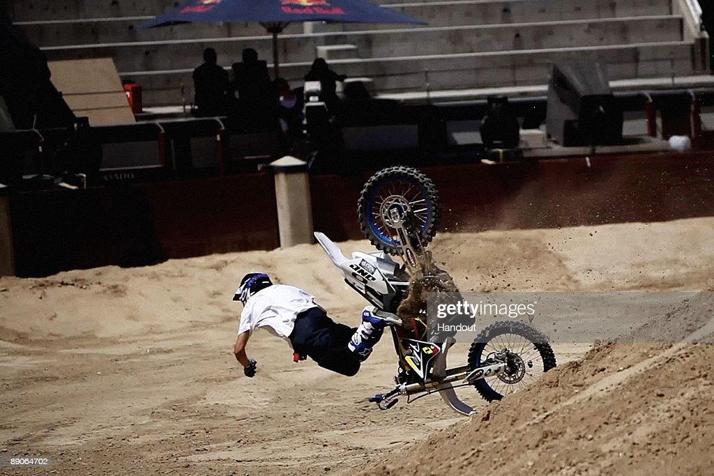 In this handout photo provided by Red Bull, French rider Charles Pages crashes after a failed attempt to pull a trick during practice for the fourth stage of 'Red Bull X-Fighters World Tour' at the Plaza de Toros de Las Ventas on July 16, 2009 in Madrid, Spain.