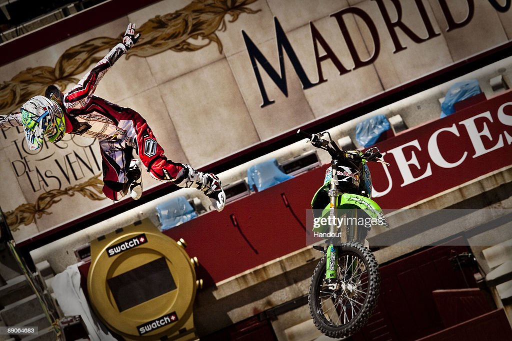 In this handout photo provided by Red Bull, Levi Sherwood of New Zealand crashes after a failed attempt to pull a trick during practice for the fourth stage of 'Red Bull X-Fighters World Tour' at the Plaza de Toros de Las Ventas on July 16, 2009 in Madrid, Spain.