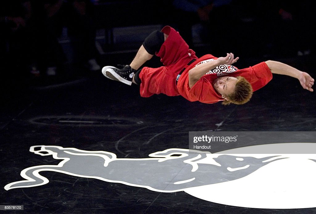In this handout photo provided by Red Bull, Taisuke of Japan performs during the Red Bull BC One breakdance competition on November 5, 2008 in Paris, France. Sixteen of the world's best B-Boys compete in one-on-one knockout battles to determine the winner.