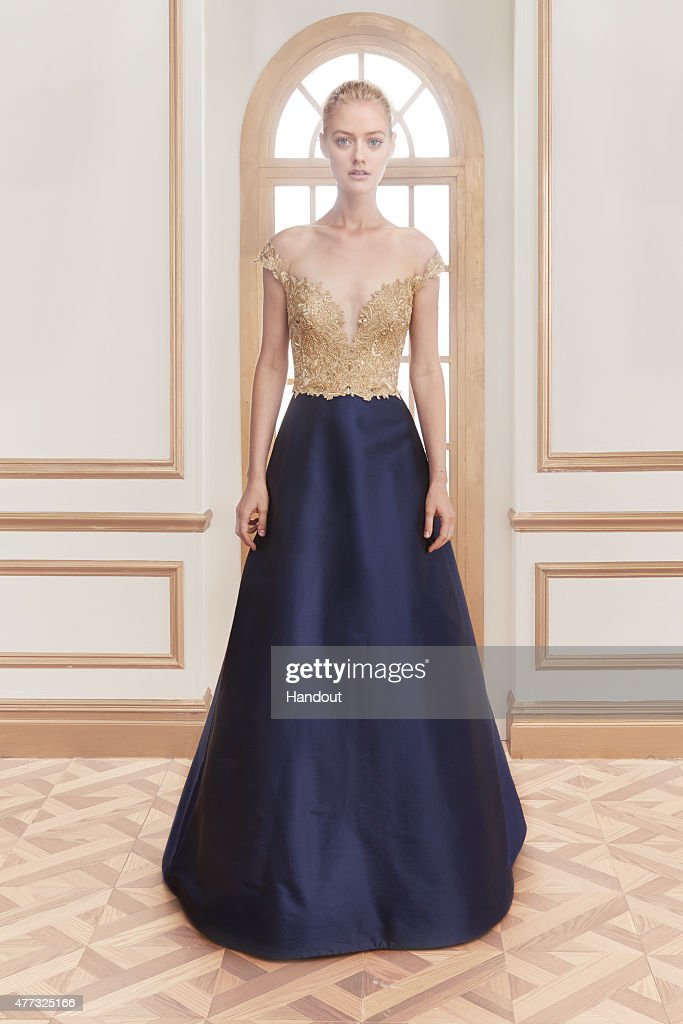 In this handout photo provided by Reem Acra a model wearing Reem Acra poses during a Resort 2016 preview June 13 2015 in New York City