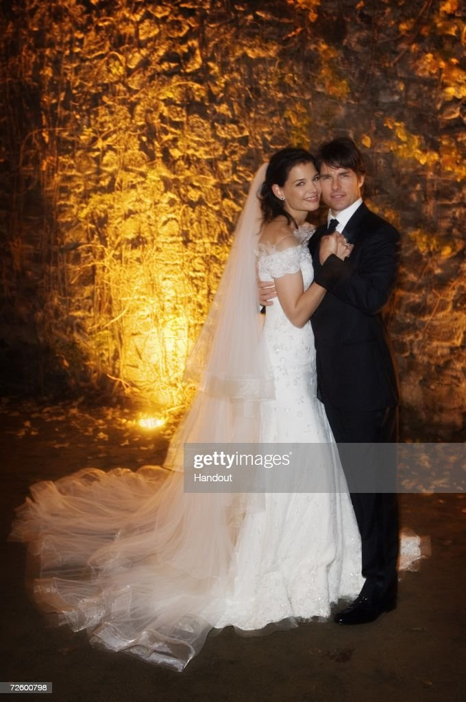 In this handout photo provided by Robert Evans, Tom Cruise and Katie Holmes pose together at Castello Odescalchi on their wedding day November 18, 2006 in Bracciano, near Rome, Italy.